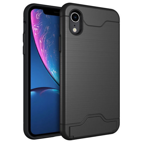 Dual Armour Tough Case & Card Slot Stand for Apple iPhone Xr - Black